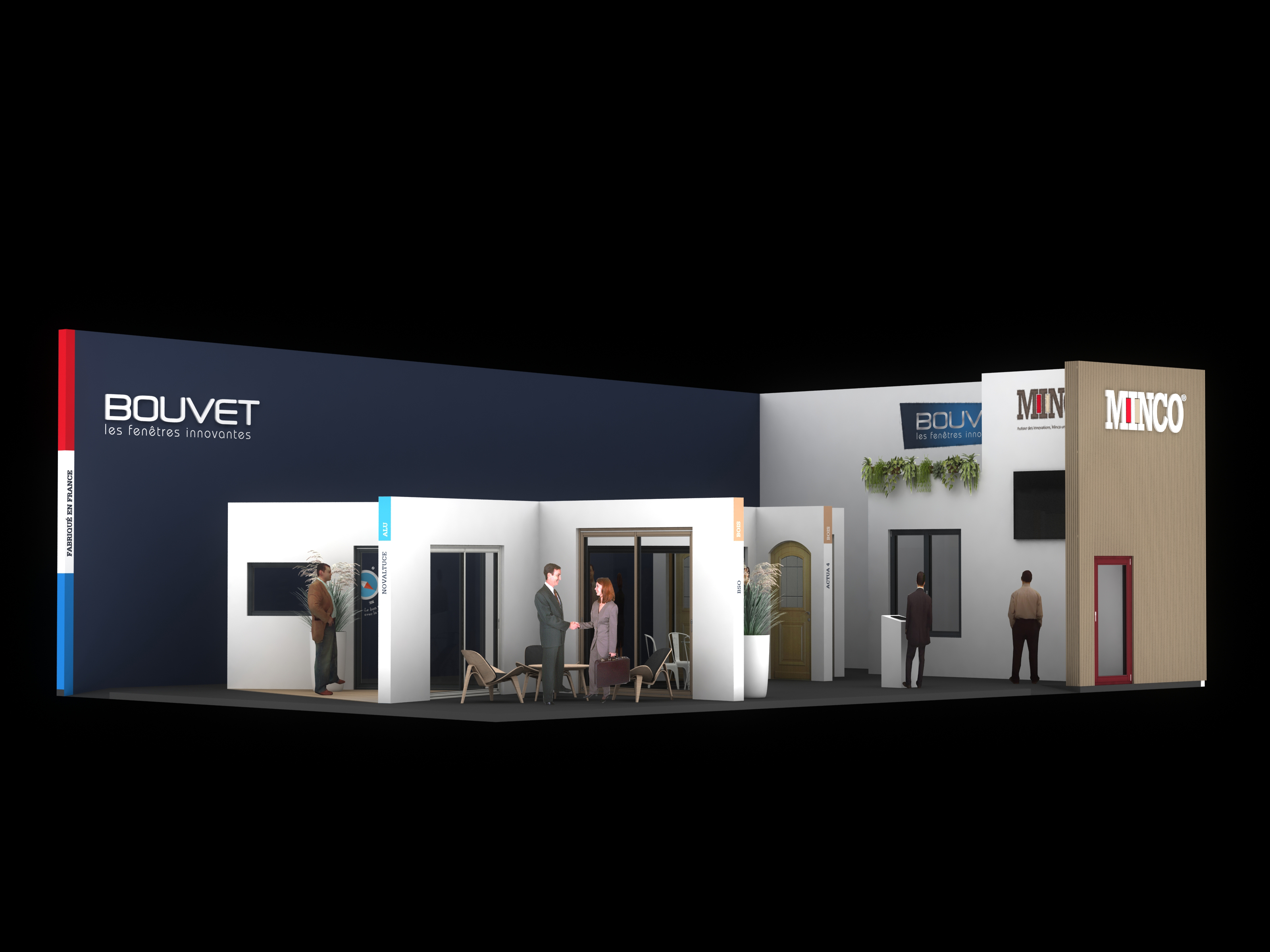 Standiste projet bouvet minco salon equip 39 baie for Menuiserie stand