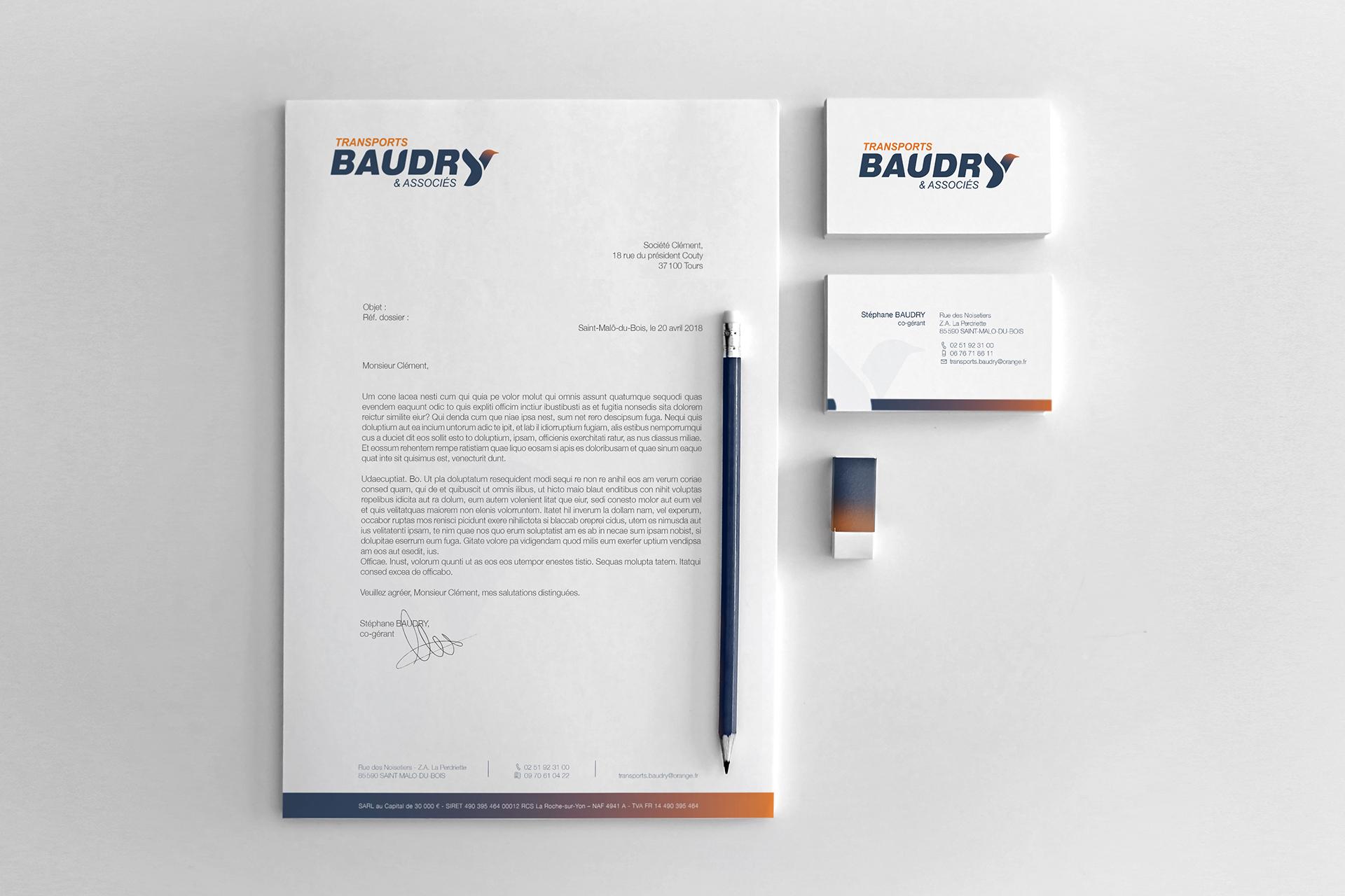 Cartes de visite et entete de lettre - identite pour Transports Baudry et associés