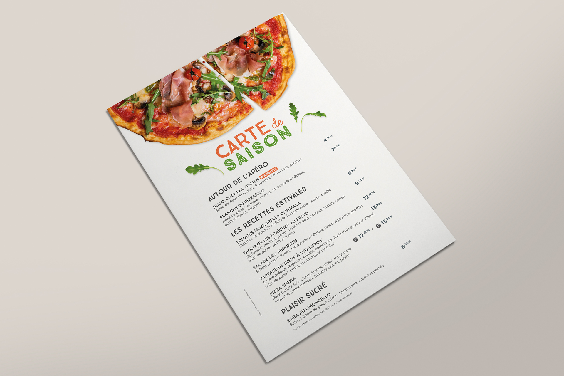 Carte de menu Bailla Pizza - Un des Sens